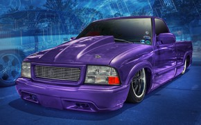 Picture design, background, car, Slammed S10