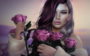 Picture look, girl, face, roses, bouquet, beauty