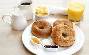 Picture juice, jam, coffee, bagel, Breakfast