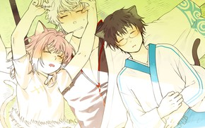 Picture anime, art, friends, sleep, Gintama