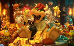 Wallpaper Rosalina, Princess Peach, Bowser, chest, Princess Daisy, girl, mario bros, King Boo, Waluigi, gold, Luigi, ...