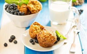 Picture berries, Breakfast, milk, blueberries, cupcakes