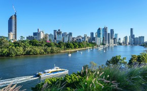 Picture greens, the sky, the sun, trees, river, home, yachts, boats, Australia, boat, Brisbane