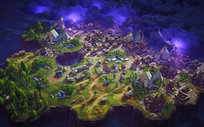 Picture the storm, trees, the city, lake, lightning, windmill, crystals, quarry, Fortnite