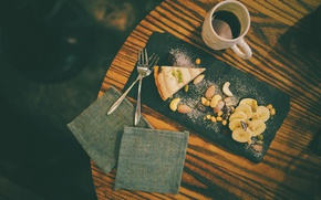 Picture table, coffee, pie, bananas, drink, nuts, nuts, fork