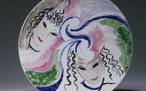 Picture 1953, Marie Laurencin, hand painted ceramics, Women in hats