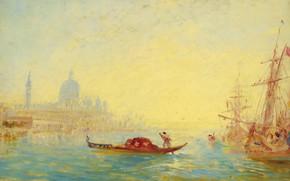 Wallpaper Venice. The Grand canal, picture, ship, boat, Felix Ziem, channel, gondola, Felix Winters, landscape
