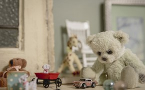 Picture toys, bear, machine, vintage, dogs, Teddy bear