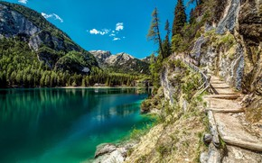 Picture mountains, nature, lake