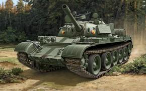 Wallpaper figure, GDR, Soviet medium tank, T-55