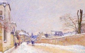 Picture winter, snow, landscape, street, home, picture, the urban landscape, Alfred Sisley, Alfred Sisley, Street of …