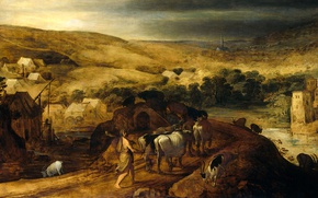 Picture tree, oil, picture, mythology, Joos de Momper, Hercules Steals the herd of Geryon