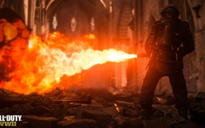 Picture Call of Duty, Fire, Weapon, Flamethrower, Soldier, COD 2017, Call of Duty: WW2, WWll