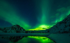 Picture winter, the sky, snow, mountains, night, lake, stars, Northern lights, Iceland