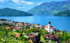 Picture greens, the sun, clouds, trees, mountains, lake, Switzerland, houses, Lake Lucerne, Engelberg