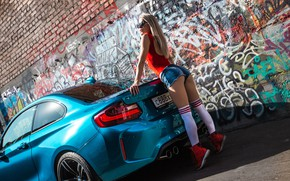 Picture auto, Girls, BMW, glasses, beautiful girl, stands tiptoe