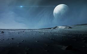 Wallpaper stones, moon, planet, sci fi