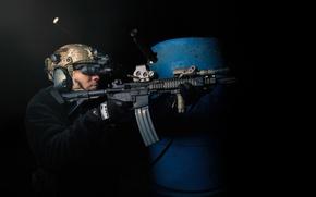 Wallpaper weapons, soldiers, machine, shooting, sleeve, night vision binocular