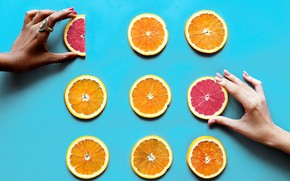 Picture hands, grapefruit, orange, background, ring