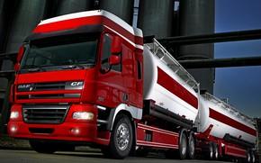 Picture red, plant, the trailer, tank, DAF, DAF, Space Cab, train, Euro5, 6x2, platform, DAF CF85.510