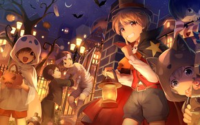 Wallpaper anime, art, children, night, costumes, Halloween