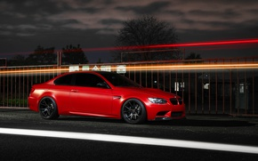 Picture the sky, clouds, red, coupe, BMW, BMW, red, e92