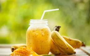 Picture tube, bananas, mango, Board, blur, smoothies, drink, Bank