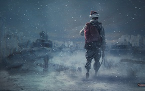 Picture snow, hat, art, soldiers, Stalker, stalker, Survarium, Zina