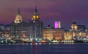 Picture night, lights, river, England, home, lights, Liverpool, Liverpool, piers