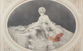 Picture 1926, Louis Icart, art Deco, etching and aquatint, red chest, Love letters
