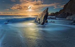 Wallpaper sunset, England, Cove Farmer, rocks, South Hams, the ocean, Devon, English Channel, sea, South Hams, ...
