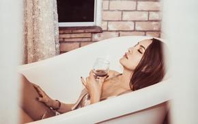 Picture girl, wine, glass, bath