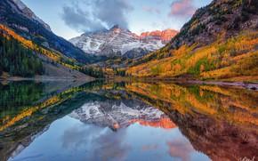 Picture autumn, reflection, trees, mountains, lake