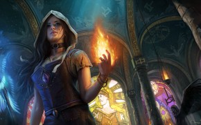 Wallpaper fire, art, path of exile, temple, the girl MAG