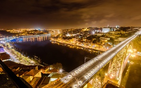 Picture night, bridge, the city, lights, river, home, lights, panorama, Portugal, Port, Portus Cale