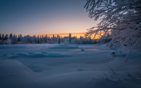Wallpaper snow, winter, trees, Finland, River Äkäsjoki, forest, Finland, river, Lapland, Lapland, sunset