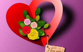 Picture flowers, heart, Valentine's day