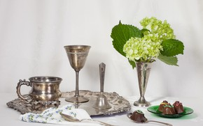 Picture candy, dishes, bell, hydrangea