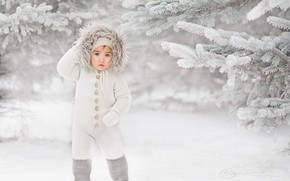 Picture winter, snow, branches, boy, ate, hood, jumpsuit, child