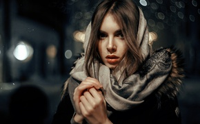 Picture look, girl, shawl, cold, bokeh