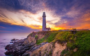 Picture sunset, lighthouse, beauty