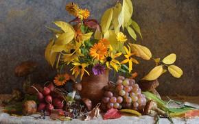 Picture autumn, leaves, flowers, mushrooms, bouquet, still life, composition, autumn bouquet