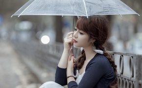 Picture girl, portrait, umbrella