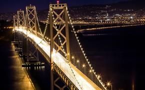 Picture night, bridge, the city, lights