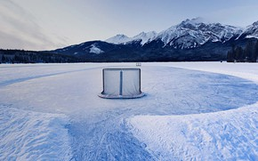 Picture mountains, gate, Canada, Albert, hockey, the lake of the Pyramids