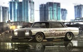 Picture Mercedes-Benz, Auto, Figure, Machine, Background, Mercedes, Car, Car, Art, Art, Rendering, W115, W114, Yasid Design, …