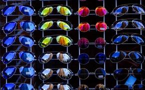 Picture color, reflection, street, colored, glasses, a lot, sunglasses, showcase