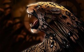 Picture cat, predator, art, Jaguar, resin, animal .predator