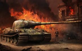 Wallpaper Panzerkampfwagen VI Ausf.B, King tiger II, war, art, Tank, Vitalii Smyk, tank, Tiger II