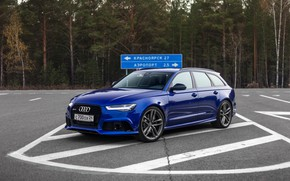 Wallpaper Audi, Blue, Russia, Before, Forest, RS6, Asphalt